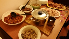 Mushrooms, two kinds of specialty vegetable dishes (thank you Elettra), stuffing, a pot of mashed potatoes, gravy.