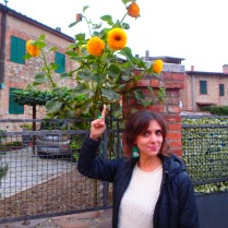Castelnuovo Beradenga. Paula, a staffer at the Saena Iulia language school, where I'm studying, pointing to a flower because I told her to.