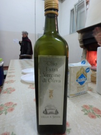 The olive oil, likely made a few hours earlier.