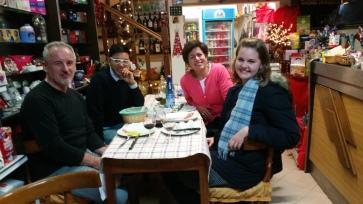 Our final stop inside the alimentari/restaurant. Mauro, Karma, me, Bree