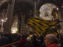 Tartuca Flags in motion, inside the Duomo.