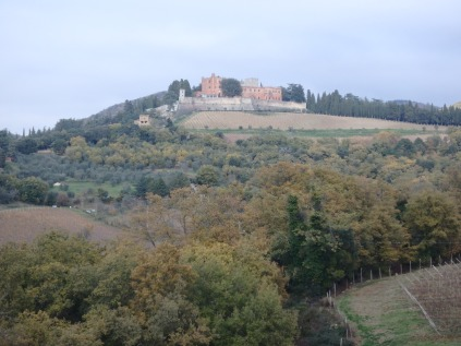 Back on the road in Chianti. A castle in the distance