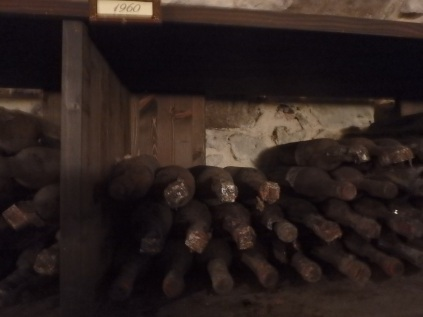 The bottles in the 'museum' in the cantina.
