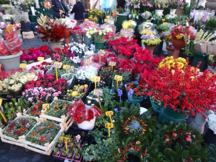 Flowers to brighten any day in Piazza Campo dei Fiori