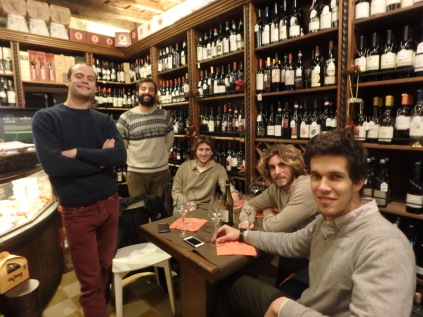 "My new Roman friends at Enoteca ""Il Tino di Vino."""