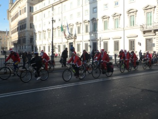 A bicycle parade on a sunny Sunday in December in Roma.