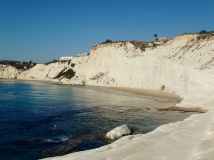 The cliffs of La Scala dei Turchi. You can't walk over on that part. Too steep.