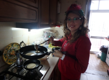 Cousin Mariangela makes flapjacks o Christmas morning, a Cuffaro family tradition.