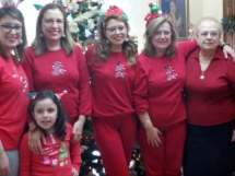 My lovely cousins, decked out in red pajamas and ornamental headbands, a Cuffaro Christmas tradition.