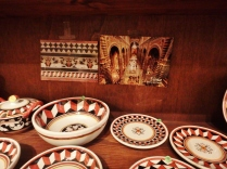 The ceramics in Alessandro's shop. Notice the colors match those from inside the Duomo of Siena.