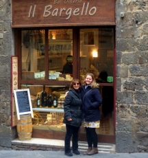 Sabrina and Bree, a student and budding opera singer from Australia, outside the Il Bargello bar, where we went every morning for our coffee break.