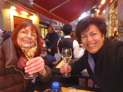 Lunch at La Baita. My friend Paola and me. and Prosecco, because it's the law.