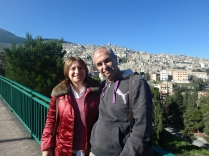 Cousin Vincenzo and Letizia with the fabulous view of Cammarata in the distance.