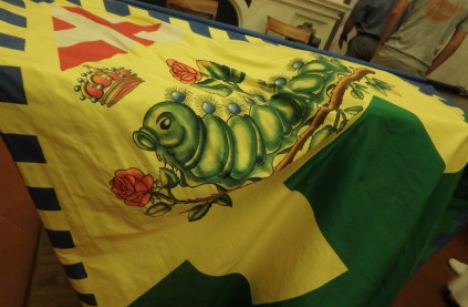 A caterpillar flag in the contrada