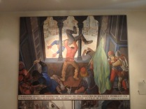 A painting inside il Bruco depicts when a man named Barbicone tossing a governor out the window during a revolt.