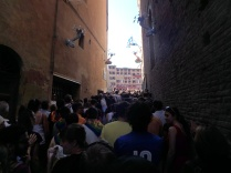 Going into the Piazza del Campo for the Palio. This is the last entrance that stays open.