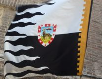 The flag and symbol of the Lupa contrada, which won the July 2 Palio after 27 years without a victory.
