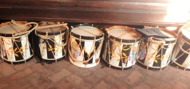 The drums of the Lupa contradaioli, ready to go.