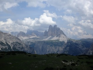 The Tre Cime di Lavaredo from atop Monte Specie, 7,500 feet up.