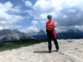 Made it! Atop Monte Specie, 7,500 feet up, with the Tre Cime di Lavaredo behind me.