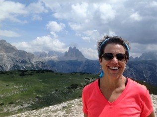 Atop Monte Specie, 7,500 feet up. The Tre Cime, which we hiked in 2015, are behind me.