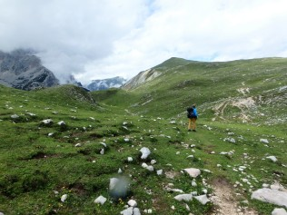 Yes, the ground looks green and lush but walking around those rocks was not easy.