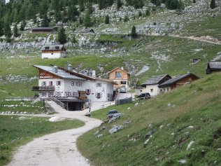 Picturesque Rifugio Lavarella. In the winter, snow reaches the roof line here. I think I'll limit my visits to summertime.