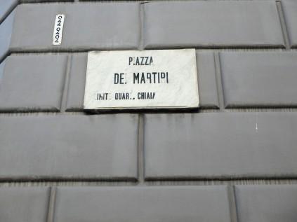Piazza dei Martiri, a locale in the Ferrante books where the Solara brothers open a shoe store.