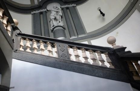 The staircase inside the Palazzo Medici di Ottaviano, designed by architect Carlo Vanvitelli, on Via Chiaia.