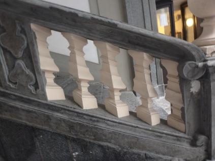 Close-up of the staircase in Palazzo Medici di Ottaviano, on Via Chiaia.