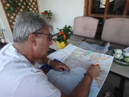 Antonio diligently marking the Naples city map to show where we walked. One day we covered about 5 miles.