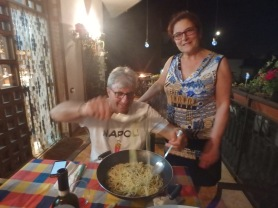 Antonio and his wife Gina, one of the best cooks on the planet, serving up the second course, spaghetti with mussels.