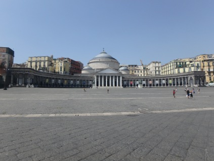 Piazza Plebiscito. The next time you're here, try this: stand facing those columns, and try to walk in a straight line to the columns from this distance, with your eyes closed. I tried it. I ended up nowhere near the center. Good luck.