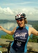 Student Sue Zurface during a bike ride in Italy.