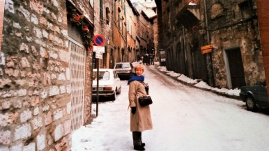 My mom on a street in Assisi, December 1986.