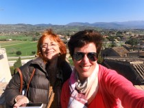 At the top of the hill in Spello, with the Umbrian countryside behind us.