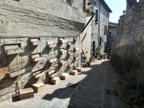 Side street in Spello. Those are wine bottle boxes used as planters.