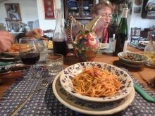 Spaghetti with wild asparagus and pancetta.