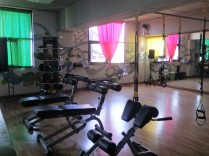 A small workout area on the second floor of the Y. We love TRX!