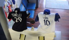 Two special jerseys, given to Giovanni, the Y owner and strength coach of the Italian National Baseball team.