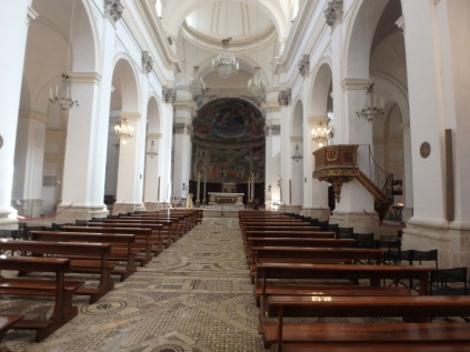 Inside the duomo of Spoleto, Santa Maria Assunta. The apse and walls around the altar are covered with frescoes by Filippo Lippi and depict episodes from the Virgin Mary's life.