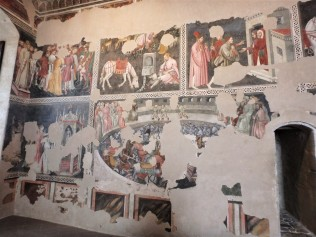 "The ""Painted Room"" inside the fortress, which was built in 1359–1370 by the architect Matteo Gattapone of Gubbio for Cardinal Albornoz. This room is covered in 15th-century frescoes, or what's left of them."