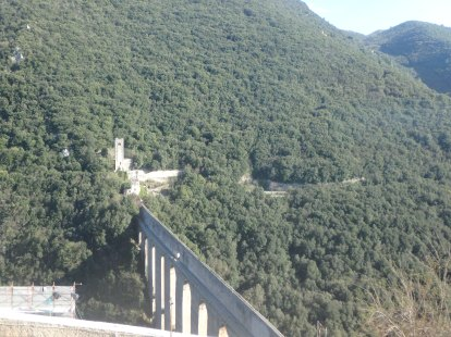 A view of the Bridge of Two Towers from above, in the Rocca, or Fortress.