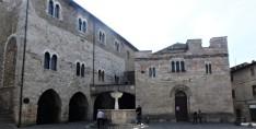 Piazza Filippo Silvestri and the Church of San Silvestro, right, and the Palazzo dei Consoli, left.