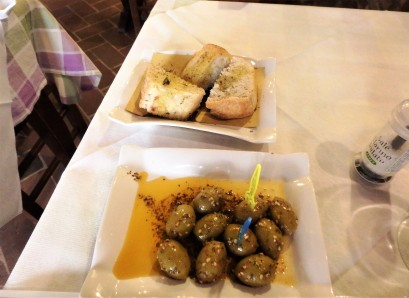 The appetizer. Those olives were so good. And spicy! The bread? Divine.