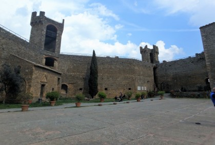 The fortress at Montalcino, built in 1361, atop the highest point in the town. It houses a large enoteca now and concerts are held here in the courtyard in the summer.