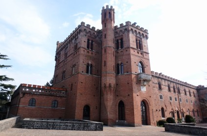 Castle Brolio. From this view, it looks like the tower's point at the bottom is attached to the building.