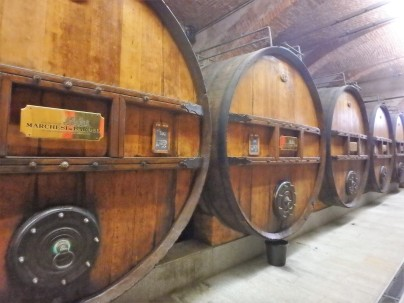 Original barrels inside the Marchesi di Barolo winery