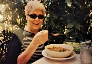 """Eating a delicious bowl of soup at trattoria """"Il Latte di Luna."""" I went back here in 2016 and it's still there."""