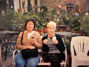 Enjoying gelato in Cortona.